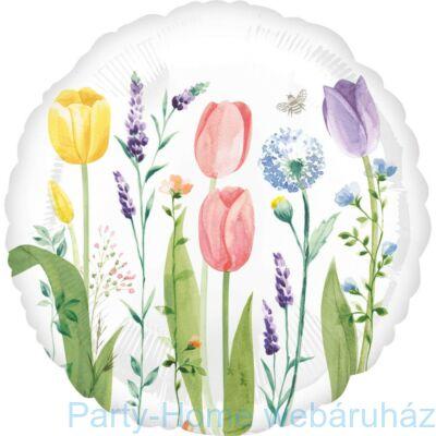 18 inch-es Tulipán Mintás - Tulip Garden Fólia Lufi