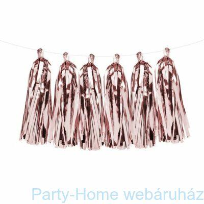 Fényes Rózsaarany - Rosegold Rojtos Girland Dekorációs Füzér 2 m.