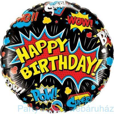 18 inch-es Szuperhos Mintás -Birthday Super Hero Black Szülinapi Fólia Lufi