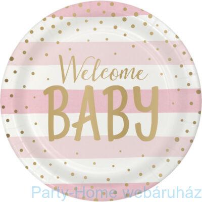Welcome Baby Rózsaszín - Arany Kislányos Party Tányér - 23 cm, 8 db-os