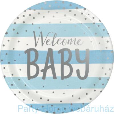 Welcome Baby Babakék - Ezüst Kisfiús Party Tányér - 23 cm, 8 db-os
