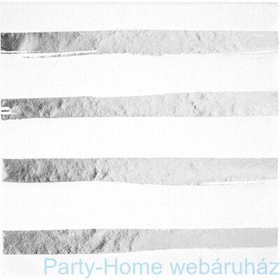 Csíkos szalvéta fehér-ezüst 33 cm x 33 cm, 16 db-os