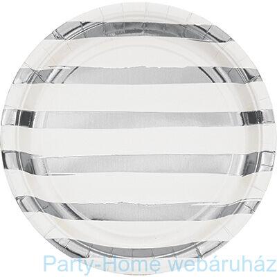 Csíkos tányér fehér-ezüst 23 cm 8 db