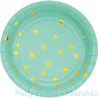Pöttyös tányér menta-arany 17,8 cm 8db