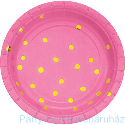 Pöttyös tányér candy pink-arany 17,8 cm 8db