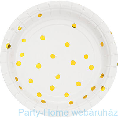 Pöttyös tányér fehér-arany 17,8 cm 8db