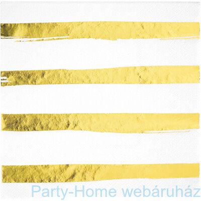 Csíkos szalvéta fehér-arany 33 cm x 33 cm, 16 db-os