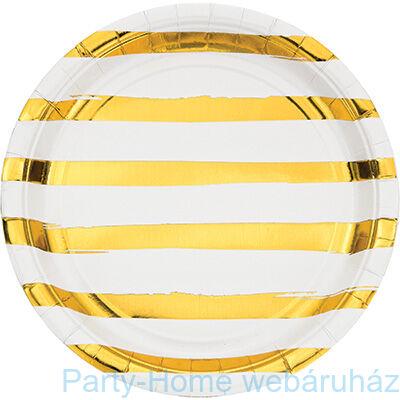 Csíkos tányér fehér-arany 23 cm 8db