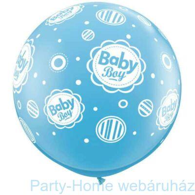 3 feet-es Baby Boy Dots A-Round Tengerkék Lufi 1db