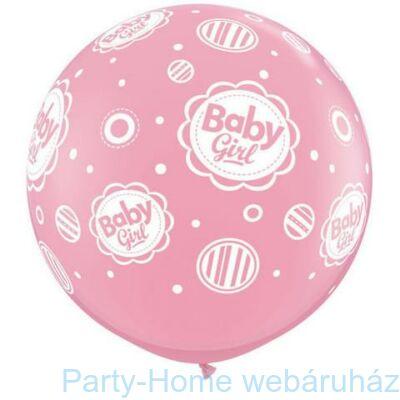 3 feet-es Baby Girl Dots A-Round Rózsaszín Lufi 1 db