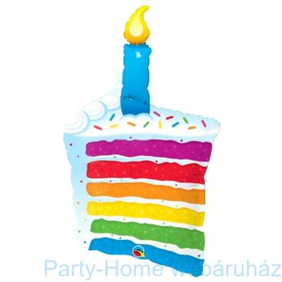 42 inch-es Rainbow Cake and Candles Super Shape Fólia Lufi