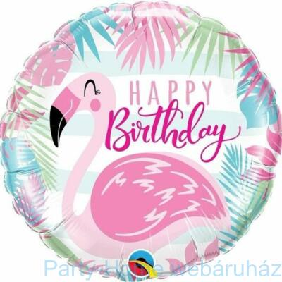 18 inch-es Birthday Pink Flamingó Fólia Lufi