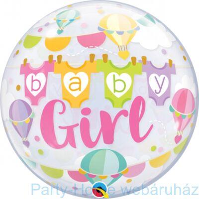 22 inch-es Baby Girl Hor Air Balloons Bubble Lufi Babaszületésre