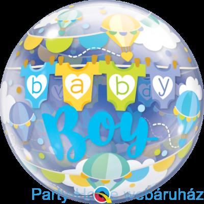 22 inch-es Baby Boy Hor Air Balloons Bubble Lufi Babaszületésre