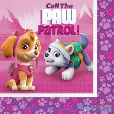 Mancs Őrjárat Skye - Paw Patrol Girl Party Szalvéta - 33 cm x 33 cm, 20 db-os