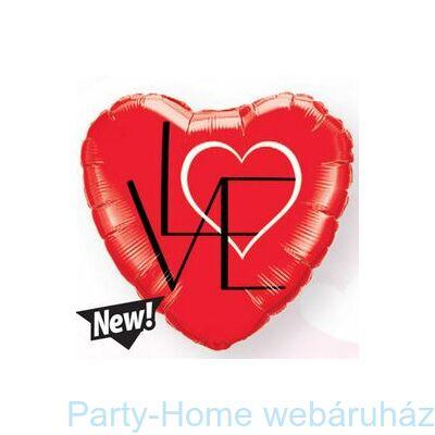 18 inch-es L(Heart)VE Red Szerelmes Szív Fólia Lufi