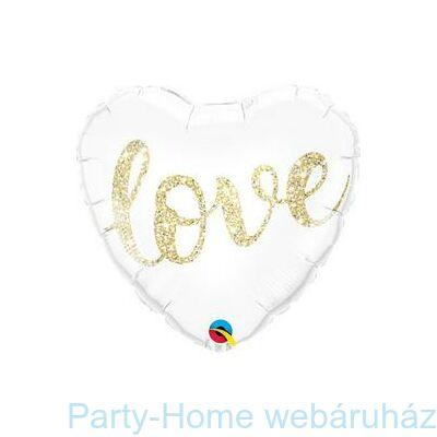18 inch-es Love Feliratú Glitter Gold Fólia Lufi