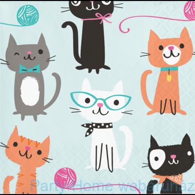 Bohém Macskák Party Szalvéta, 25 cm x 25 cm, 16 db-os
