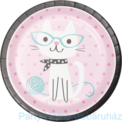 Bohém Macskák Party Tányér - 23 cm, 8 db-os