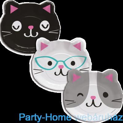 Bohém Macskák Party Tányér Cica formájú, 3 féle - 23 cm, 8 db-os