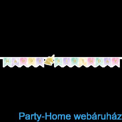 Golden Unikornis Party - Szivárvány Egyszarvú Mintás Happy Birthday Girland - 2,4 m
