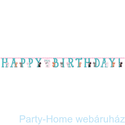 Bohém Macskák Party Happy Birthday Girland - 3 m