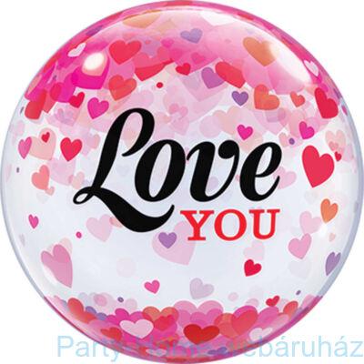 22 inch-es Love You Confetti Hearts Szerelmes Bubble Lufi