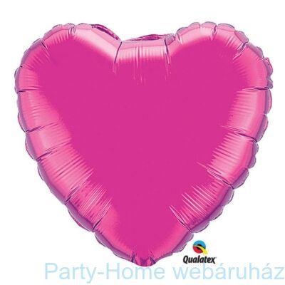36 inch-es Sötét Rózsaszín - Magenta Szív Fólia Lufi