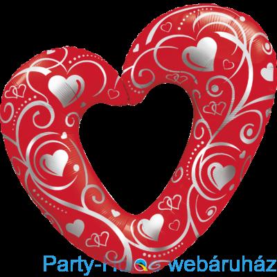 42 inch-es Hearts & Filigree Red Szerelmes Fólia Lufi