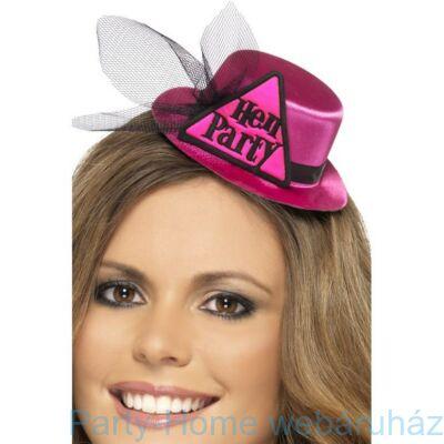Pink Hen Party Mini Kalap Fátyollal