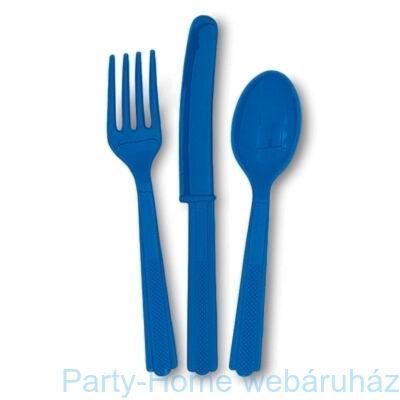 Royal Blue - Kék Műanyag Parti Evőeszköz Válogatás - 18 db-os