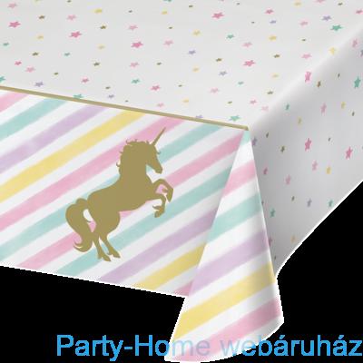 Golden Unikornis Party - Szivárvány Egyszarvú Asztalterítő - 137 cm x 259 cm