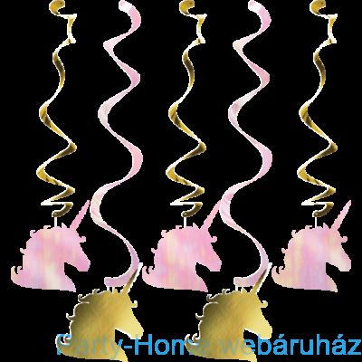 Golden Unikornis Party - Szivárvány Egyszarvú Mintás Függő Dekoráció, 5 db-os
