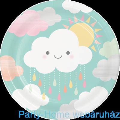 Mosolygó Felhőcske Party Tányér - 23 cm, 8 db-os