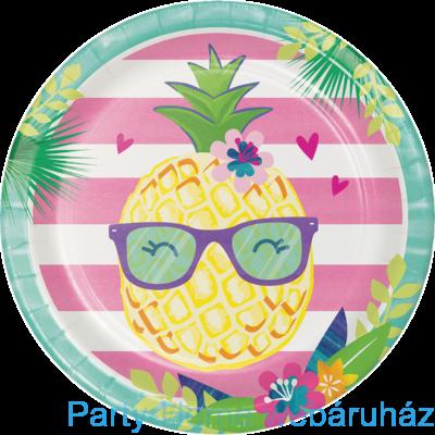 Flamingó & Ananász Party Tányér - 23 cm, 8 db-os