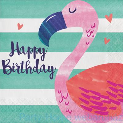 Flamingó & Ananász Party Szalvéta Flamingóval - 33 cm x 33 cm, 16 db-os