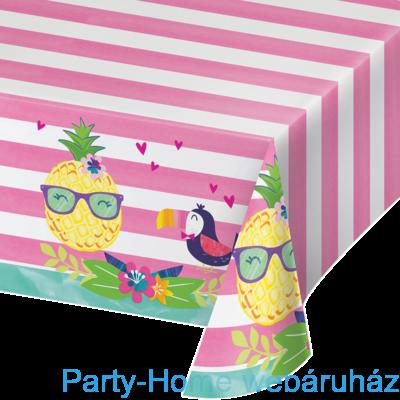 Flamingó & Ananász Party Asztalterítő - 137 cm x 259 cm