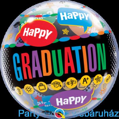 22 inch-es Happy Graduation Congrats Grad Ballagási Bubble Lufi