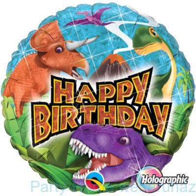 18 inch-es Birthday Dinosaurs Szülinapi Holografikus Fólia Lufi_partyhome