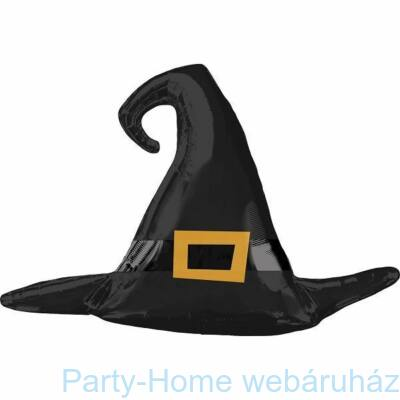 Satin Black Witch Hat Super Shape Fólia Lufi Halloween-ra