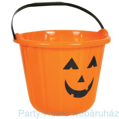 Tökfej Mintás Narancssárga Vödör Halloween-ra