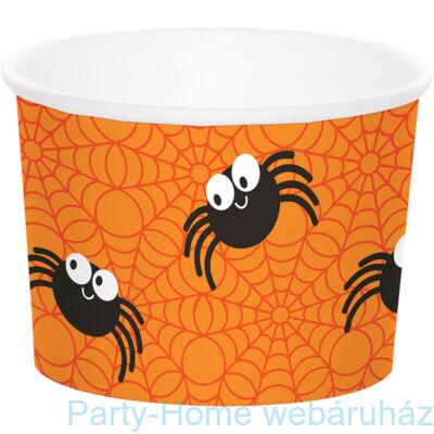 Vidám pókos narancssárga kehely Halloweenre 6 db-os
