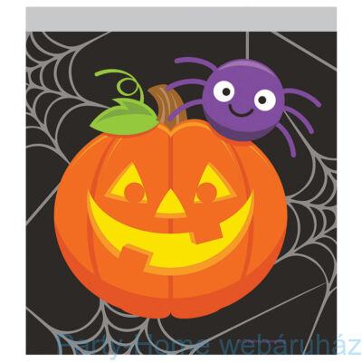 Vidám tökös és pókos zacskó Halloweenra, gyorszáras - 10 db-os