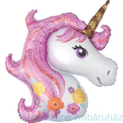 Glitteres Magical Unicorn - Egyszarvú Super Shape Fólia Lufi