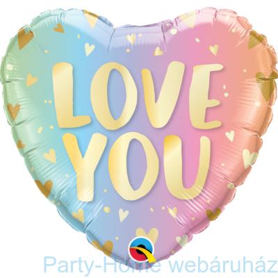 18 inch-es Love You Pastel Ombre & Hearts Szív Fólia Lufi