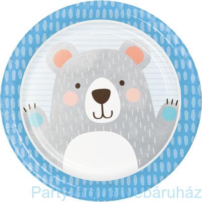 1st Birthday Bear - Mókás Mackó Szülinapi Kisfiús Party Tányér - 23 cm, 8 db-os