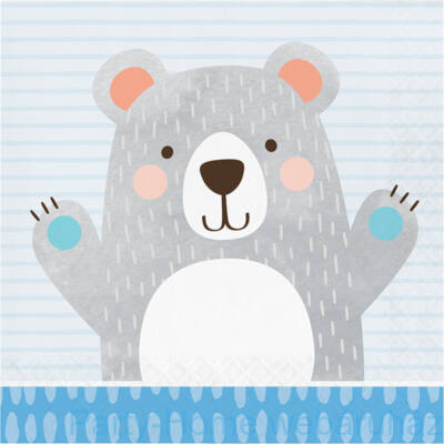 1st Birthday Bear - Mókás Mackó Szülinapi Kisfiús Party Szalvéta - 33 cm x 33 cm, 16 db-os