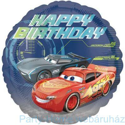 17 inch-es Cars - Happy Birthday - Verdák Szülinapi Fólia Lufi