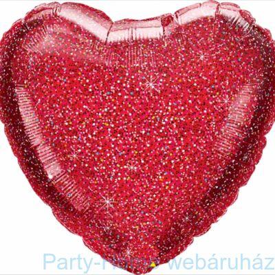 18 inch-es Glittergraphic Red Szív Fólia Lufi