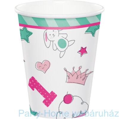 Doodle 1st Birthday Girl - Nyuszis Első Szülinapos Rózsaszín Pohár - 266 ml, 8 db-os